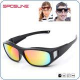Mulheres polarizadas Eyewear do desenhador do tipo dos óculos de sol do frame do esporte homens grandes
