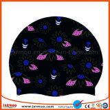 黒い花の安い帽子のシリコーンの水泳帽