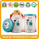 Alimentos para animais de latas de metal redonda para cão biscoitos Cookies