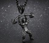 人の型の一見のステンレス鋼の銀または黒または金カラー重量挙げ選手の体操のボディービルダーのBarbellのペンダントのネックレス