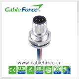 Do conetor fêmea do painel IEC61076-2-101 de M12 5pin conetor circular com contatos do PWB para a automatização de fábrica
