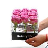 En acrylique transparent carré personnalisé Fleur Rose Boîte carrée