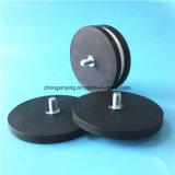 Forte NdFeB revestido de borracha preta Pot Magneto com rosca par esfera plana para venda