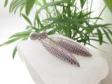 여자를 위한 구리빛 지르콘 돌 분홍색 다이아몬드 하락 귀걸이를 도금하는 백금