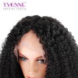 El cabello afro brasileña de encaje rizado peluca frontal con indicador natural