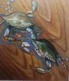 La pittura a olio Handmade del granchio nuotatore di arte della parete della tela di canapa ha fatto soffrire da Knife