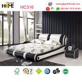 Re bianco moderno Leather Bed per la mobilia della camera da letto (HC316)