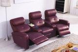 Sofá moderno do Recliner do couro genuíno de três assentos (HC049)