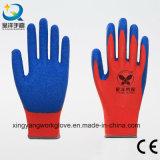 gants fonctionnants industriels enduits du polyester 13G de latex bleu rouge de doublure (L009)