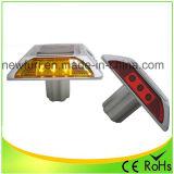 Lumière clignotante de DEL de goujon solaire jaune de route avec du ce RoHS