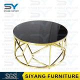 Mesa de centro casera del vector del mármol del vector del acero inoxidable del oro de los muebles