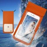 Tejido de la moda de cuero de PU bolsa impermeable para teléfono móvil 6pulg.