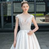Il raso ha bordato una riga abito nuziale elegante Bh005 del vestito da cerimonia nuziale di promenade