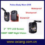 Cámara de vídeo desgastada carrocería impermeable de la policía con 120 grados de granangular