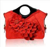 Designer de moda PU Leather Tote saco de mão com flor (XC046)
