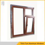 Prezzo poco costoso di doppia finestra di alluminio lustrata di girata e di inclinazione