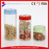 Großhandelsglasnahrungsmittelglas mit Farben-dekorativer Kappe