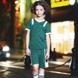 Modèle court en bloc de chemise de polo d'uniforme scolaire de vert de chemise