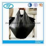 Bolso de basura plástico negro de la camiseta del HDPE