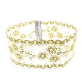 De met de hand gemaakte Halsbanden van de Nauwsluitende halsketting van de Bloem van de Lovertjes van de Helling van de Gradiënt van de Kleur van de Draad van het Kant Witte Gouden