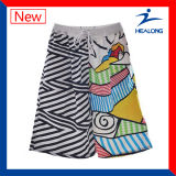 Shorts da praia do Sublimation da tintura do desgaste da ginástica do projeto da forma de Healong