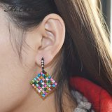 Brincos de gota coloridos requintados do quadrado do Rhinestone para mulheres