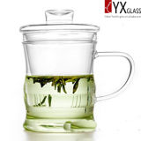Ensemble de thé en verre à haute teneur en borosilicate de 350 ml avec infuseur S / S / Tasse à thé en verre avec bouchon en verre / théière en verre