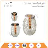 3ガラス蜂蜜のびん、ガラス蜂蜜の瓶のセット