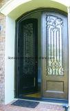 家のための現代正方形の上の側光の鉄の外部のグリルエントリガラスドア