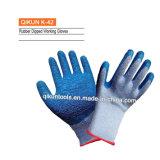 Латекса Crinkle вкладыша K-40 перчатки красного Polyest серого работая