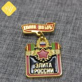 記念品亜鉛合金のロゴの習慣の軍の折りえりPin