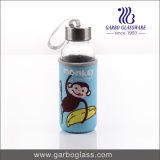 300ml coloriu a garrafa de água de vidro impressa com logotipo personalizado