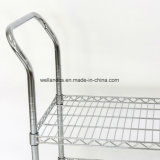 Easy Moving 3 Tier Wire Mesh Rack Rolling Cart Multifunction Steel Storage Utility Cart Trolley
