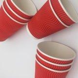 Gewölbte Wand-heißes Getränk-Papiercup-rotes Kräuselung-Wand-Cup