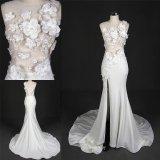 Мантия венчания платья отвесной стороны цветков лифа шнурка Handsewn Split