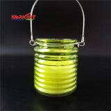 Il vetro ha lavorato a maglia la candela del giardino di uragano della citronella di 3% per appendere