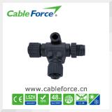 M12 5pin a-coderend t-Splitser Mannetje aan Vrouwelijke CirkelSchakelaar met de Schroef van het Metaal van de Kabel Pur/PVC
