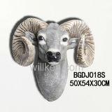 Resina fatta a mano decorazione animale di attaccatura di parete di figura della testa della capra