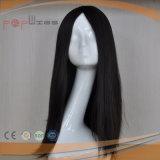 Schwarze Jungfrau-Haar-Haut-Oberseite-Perücke (PPG-l-0889)