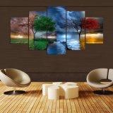 5 pedazos de la lona de la pintura del arte para la alta calidad modular de la decoración de la sala de estar representan cuadros del arte de la pared este árbol Serie de cuatro estaciones