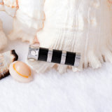 Pendant neuf de bijou d'incinération de souvenir de collier d'urne de cylindre de noir de mode