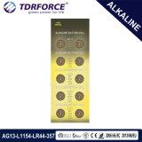 1.5V AG13/Lr44 0.00% Mercury-freie alkalische Tasten-Zellen-Batterie für Uhr