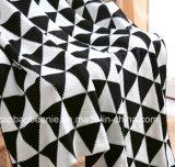 Manta suavemente blanca y negra del Knit del algodón
