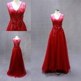 Sequin pesado que perla o vestido de noite vermelho da garganta de V
