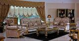 Colore scuro di verniciatura intagliato mano di legno solido 0061 con il sofà classico del tessuto della decorazione dorata