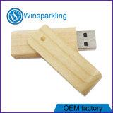 Memoria de madera del palillo del USB de la mejor del precio nuez del eslabón giratorio