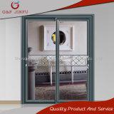 Vidro Tempered do dobro do metal que desliza a porta de painel com perfil de alumínio (JFS-8021)