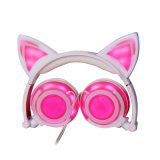 Проводной Cute светодиодный индикатор горит? оболочки уха Cat наушника для девочек