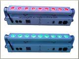 9X18W RGBW+UVの無線電池小型LEDの壁の洗濯機棒段階ライト