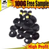 Cheveu brésilien de Vierge de noir de gicleur d'onde de corps
